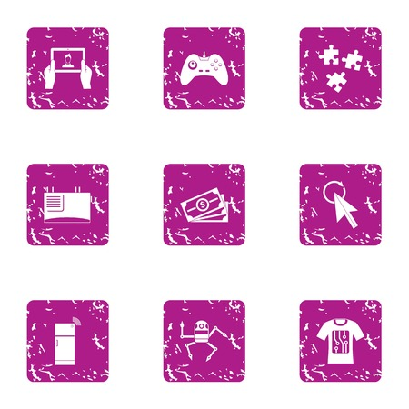 Robot secretary icons set. Grunge set of 9 robot secretary vector icons for web isolated on white background Illusztráció
