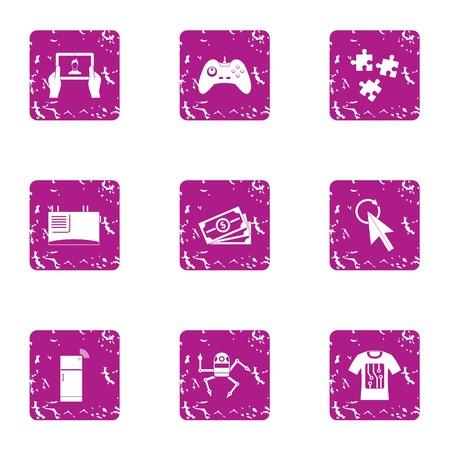 Robot secretary icons set. Grunge set of 9 robot secretary vector icons for web isolated on white background Illustration