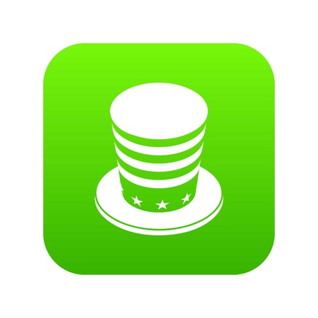 American conic hat icon green vector isolated on white background