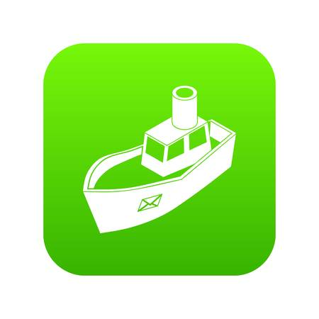Sea ship delivery icon green vector isolated on white background Illustration