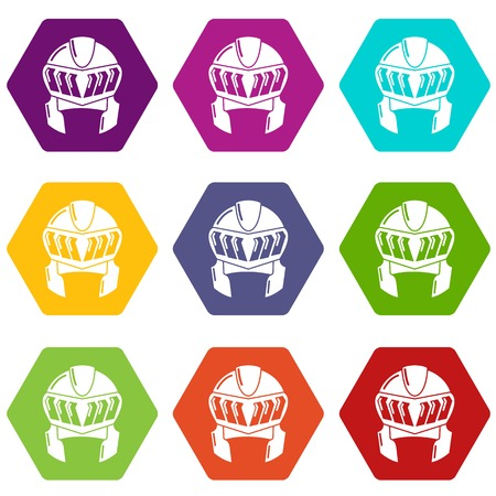 Knight helmet medieval icons 9 set coloful isolated on white for web Illustration