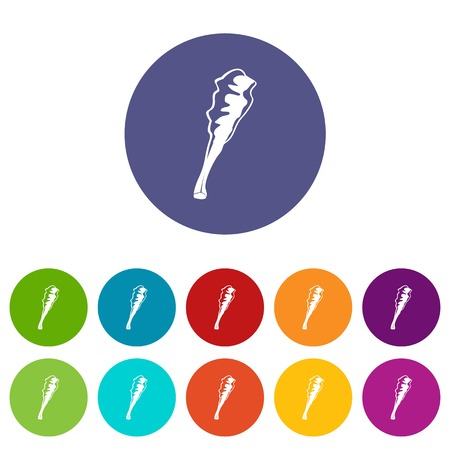 Truncheon icons set vector color