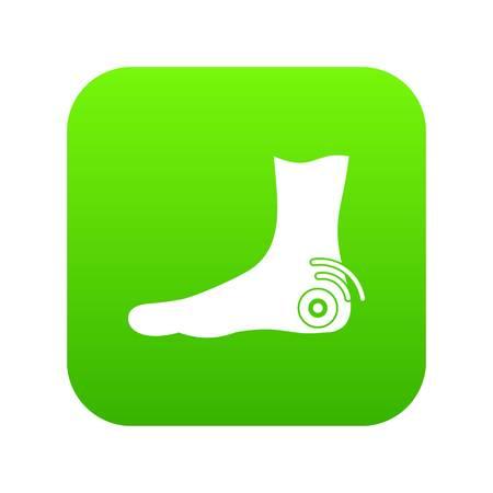 Foot heel icon digital green