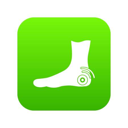 Foot heel icon digital green