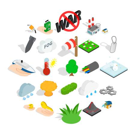 Fire icons set. Isometric set of 25 fire vector icons for web isolated on white background