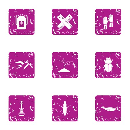 Botanist icons set. Grunge set of 9 botanist vector icons for web isolated on white background Illusztráció