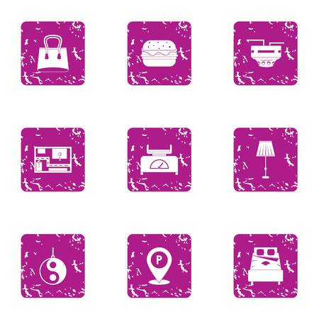Street hotel icons set. Grunge set of 9 street hotel vector icons for web isolated on white background