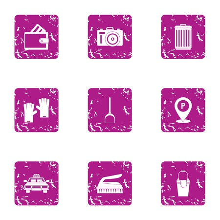 Hotel industry icons set. Grunge set of 9 hotel industry vector icons for web isolated on white background Stock Illustratie