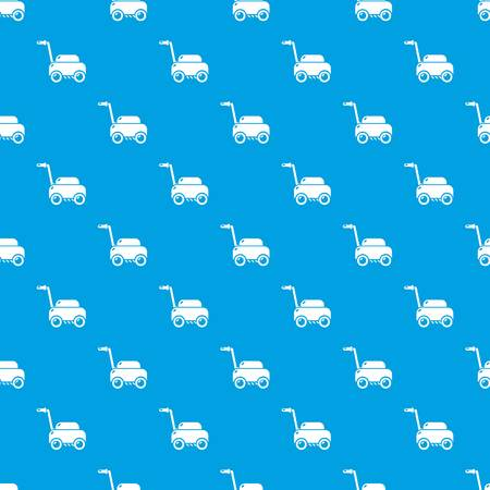 Lawn mower machine pattern vector seamless blue repeat for any use