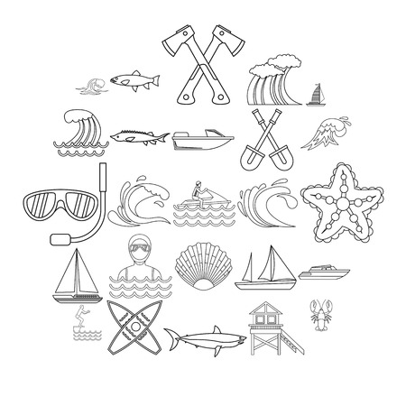 Fishing icons set. Outline set of 25 fishing vector icons for web isolated on white background