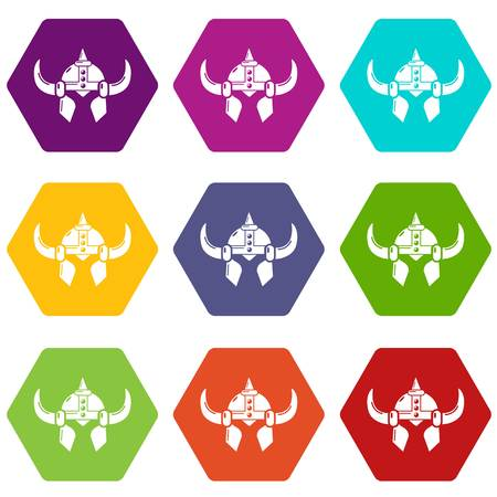 Viking helmet knight icons 9 set coloful isolated on white for web