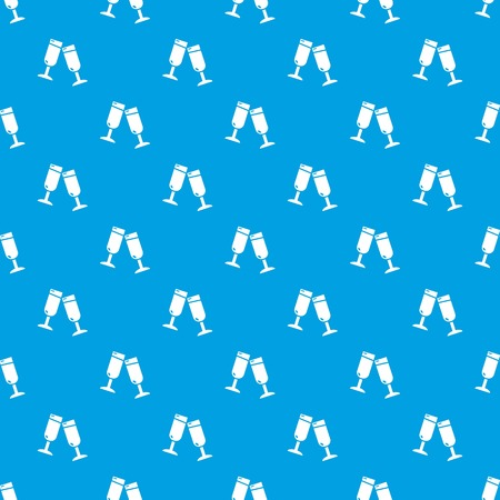 Glasses champagne pattern vector seamless blue repeat for any use