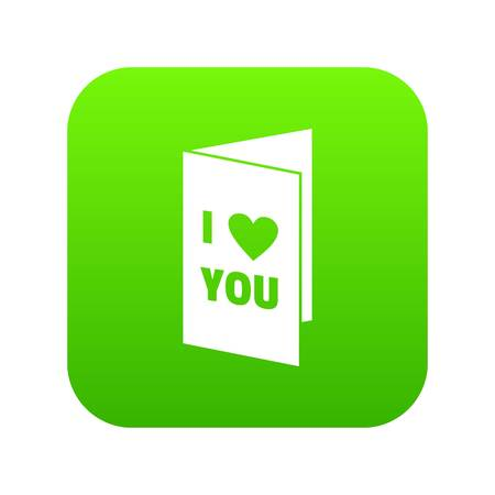Happy Valentines day or weeding card icon digital green for any design isolated on white vector illustration Ilustração Vetorial