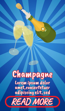 Champagne concept banner. Isometric banner of champagne comics vector concept for web, giftcard and postcard