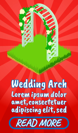 Wedding arch concept banner. Isometric banner of wedding arch comics vector concept for web, giftcard and postcard