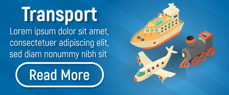 Transport concept banner. Isometric banner of transport vector concept for web, giftcard and postcard