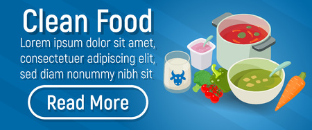 Clean food concept banner. Isometric banner of clean food vector concept for web, giftcard and postcard