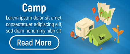 Camp concept banner. Isometric banner of camp vector concept for web, giftcard and postcard
