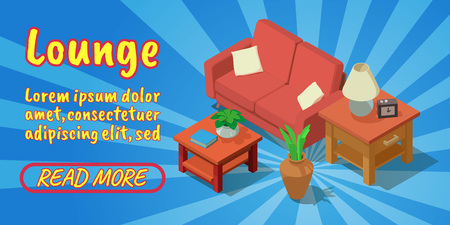 Lounge concept banner. Isometric banner of lounge comics vector concept for web, giftcard and postcard