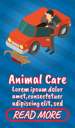 Animal care concept banner. Isometric banner of animal care comics vector concept for web, giftcard and postcard