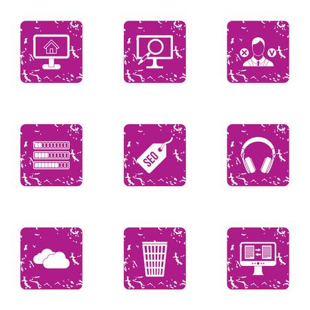 Market research icons set. Grunge set of 9 market research vector icons for web isolated on white background