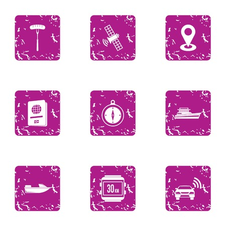 Position place icons set. Grunge set of 9 position place vector icons for web isolated on white background Foto de archivo - 130235547