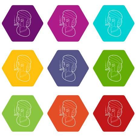 Rastafarian man wearing headband and smoking icons 9 set coloful isolated on white for web