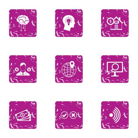 Article icons set. Grunge set of 9 article vector icons for web isolated on white background