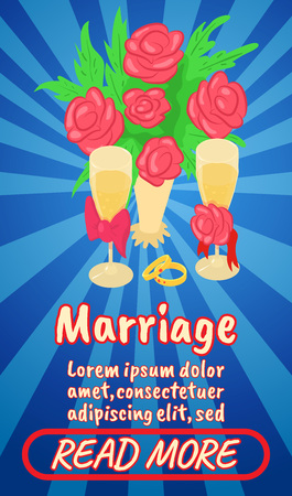Marriage concept banner, comics isometric style Illustration