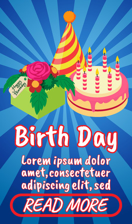 Birth day concept banner. Isometric banner of birth day comics vector concept for web, giftcard and postcard