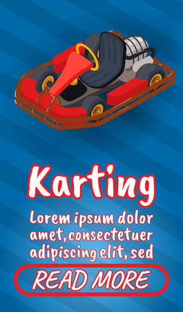 Karting concept banner. Isometric banner of karting comics vector concept for web, giftcard and postcard