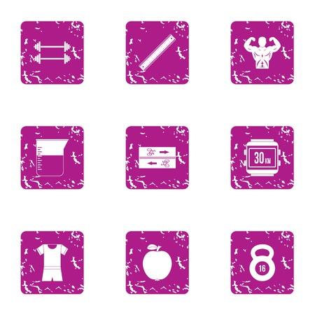 Iron icons set. Grunge set of 9 iron vector icons for web isolated on white background