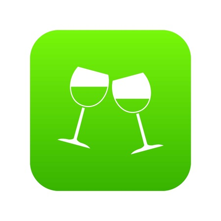 Two wine glasses icon digital green for any design isolated on white vector illustration