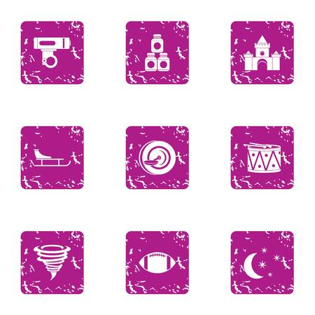 Night gayety icons set. Grunge set of 9 night gayety vector icons for web isolated on white background