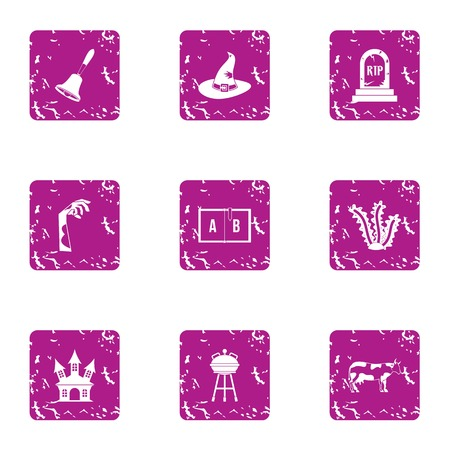 Perish icons set. Grunge set of 9 perish vector icons for web isolated on white background