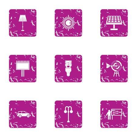 Illumine icons set. Grunge set of 9 illumine vector icons for web isolated on white background