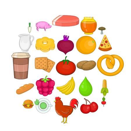 Fresh food icons set. Cartoon set of 25 fresh food vector icons for web isolated on white background