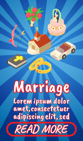 Marriage concept banner. Isometric banner of marriage comics vector concept for web, giftcard and postcard Stock Illustratie