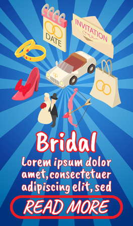 Bridal concept banner. Isometric banner of bridal comics vector concept for web, giftcard and postcard Stock Illustratie