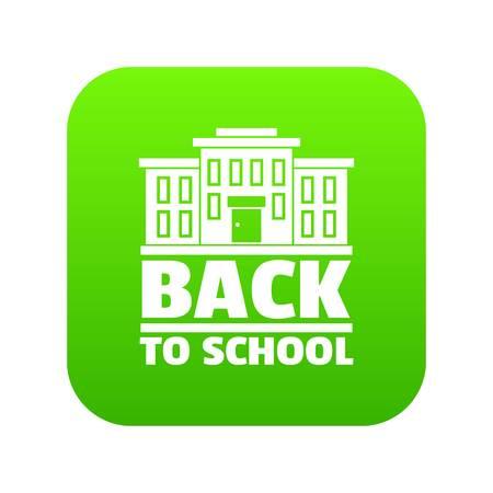Back to school icon green vector Illustration
