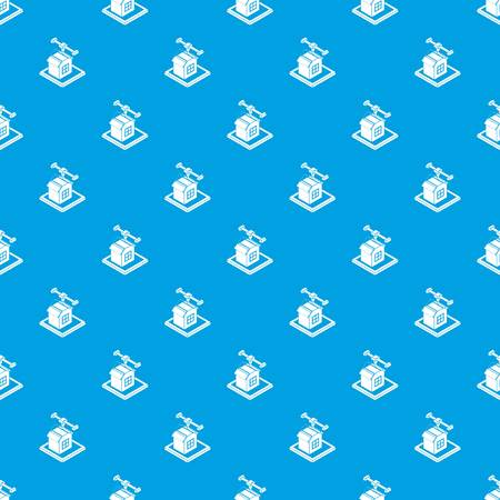 House d printing pattern vector seamless blue repeat for any use Ilustração