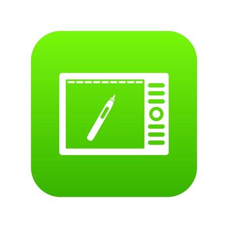 Graphics tablet icon digital green Illustration