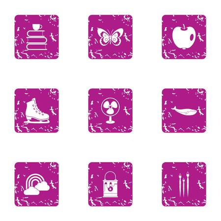 Peaceful icons set. Grunge set of 9 peaceful vector icons for web isolated on white background