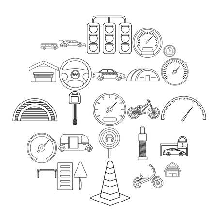 Salvatory icons set. Outline set of 25 salvatory vector icons for web isolated on white background