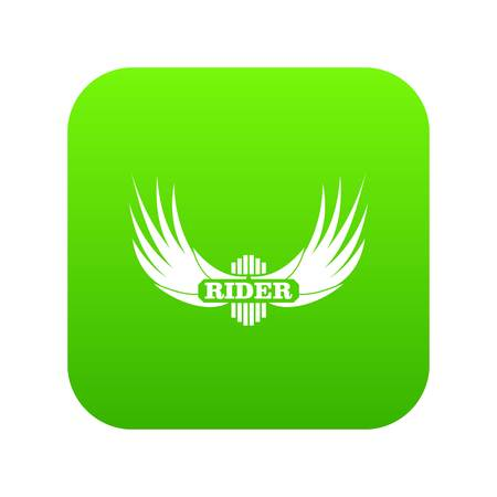 Rider wing icon green vector