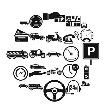 Parking icons set. Simple set of 25 parking vector icons for web isolated on white background Vectores