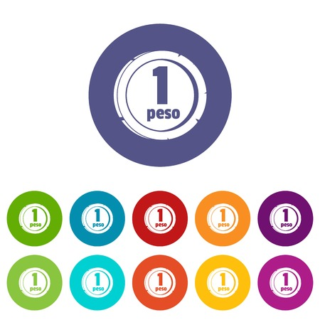 Peso icons set vector color Illustration