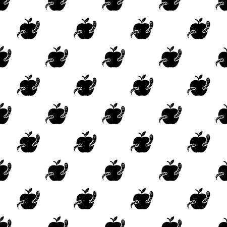 Worm apple pattern vector seamless repeating for any web design