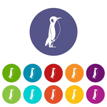Penguin icons set vector color
