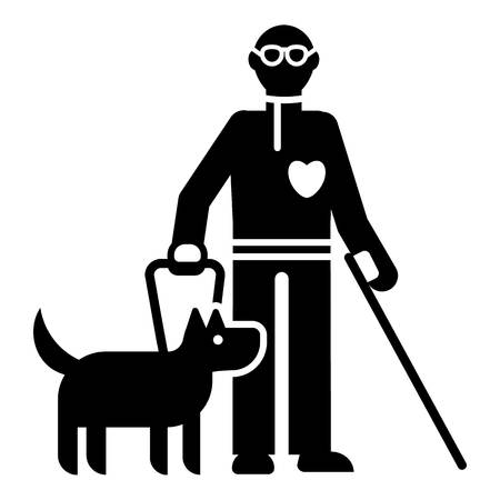 Invalid person with dog icon. Simple illustration of invalid person with dog vector icon for web design isolated on white background Vecteurs